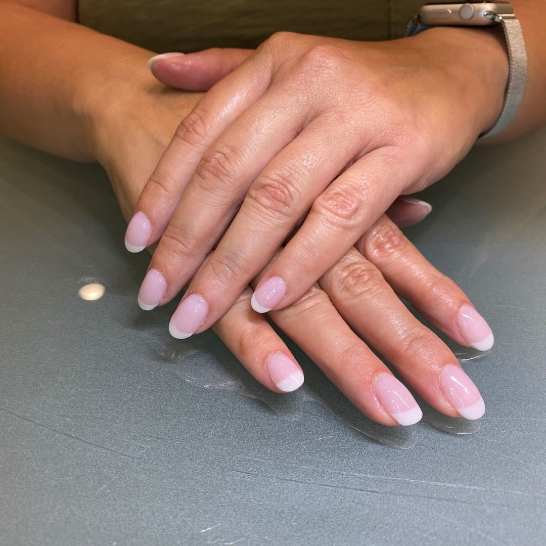 Modern French manicure done in Erie, pa